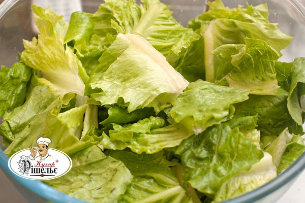 Washed leaves of romaine lettuce on a plate